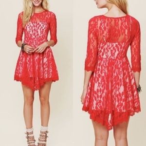 Free People Floral Mesh Lace Red Mini Dress
